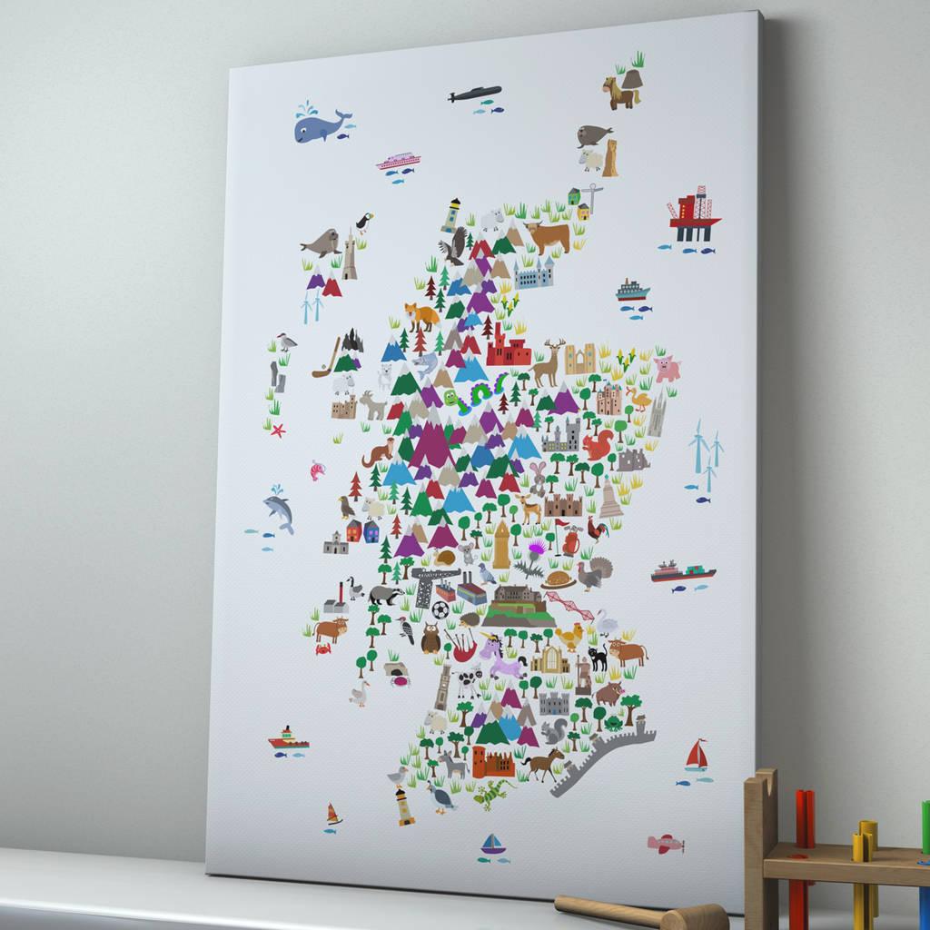 Animal Map Scotland Childrens Print By Artpause
