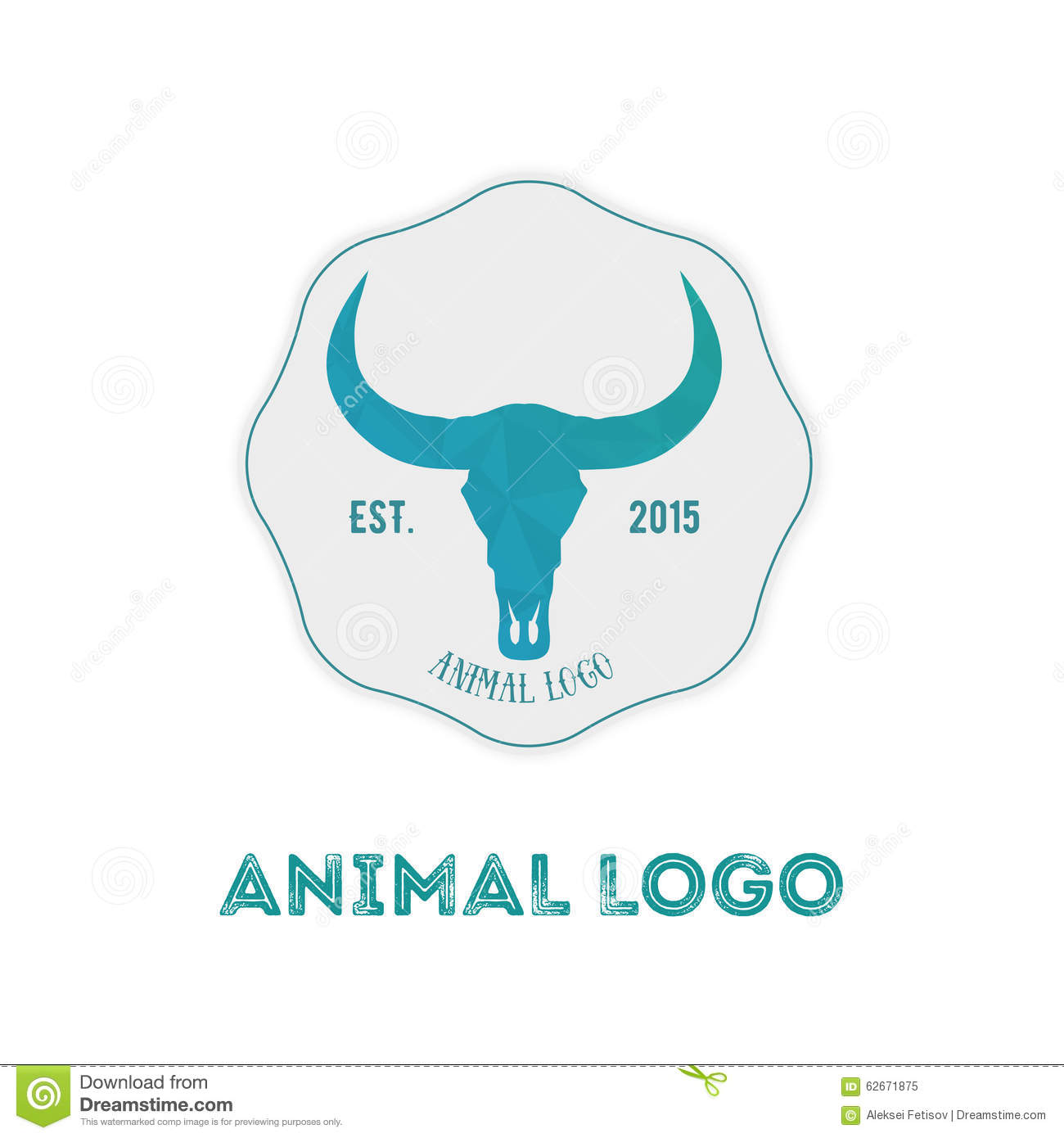Polygonal Hipster Logo With Head Of Buffalo In Mint Color With G