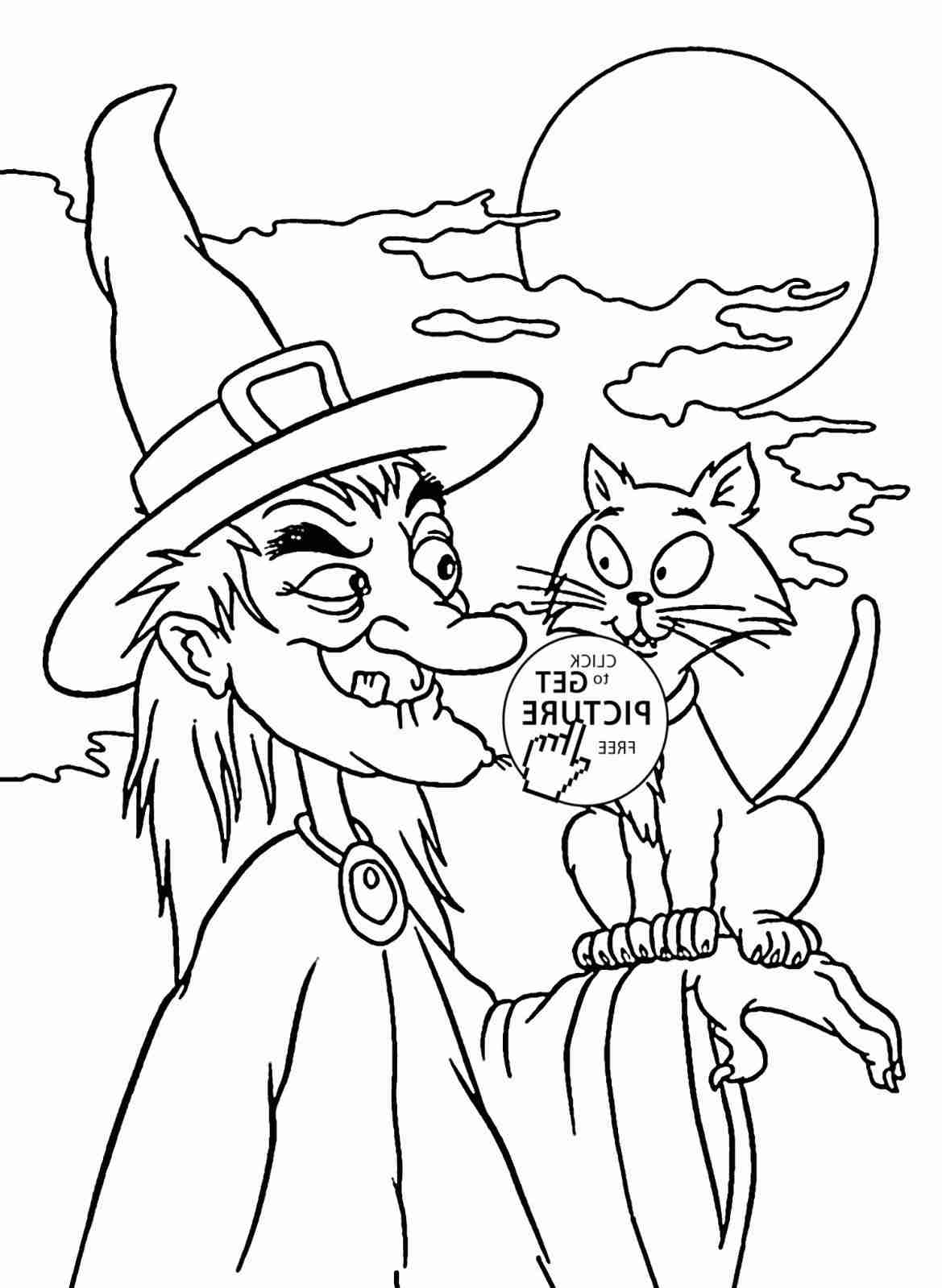 Pretty Witch Coloring Page Printable Rhcoloringcom Happy Halloween
