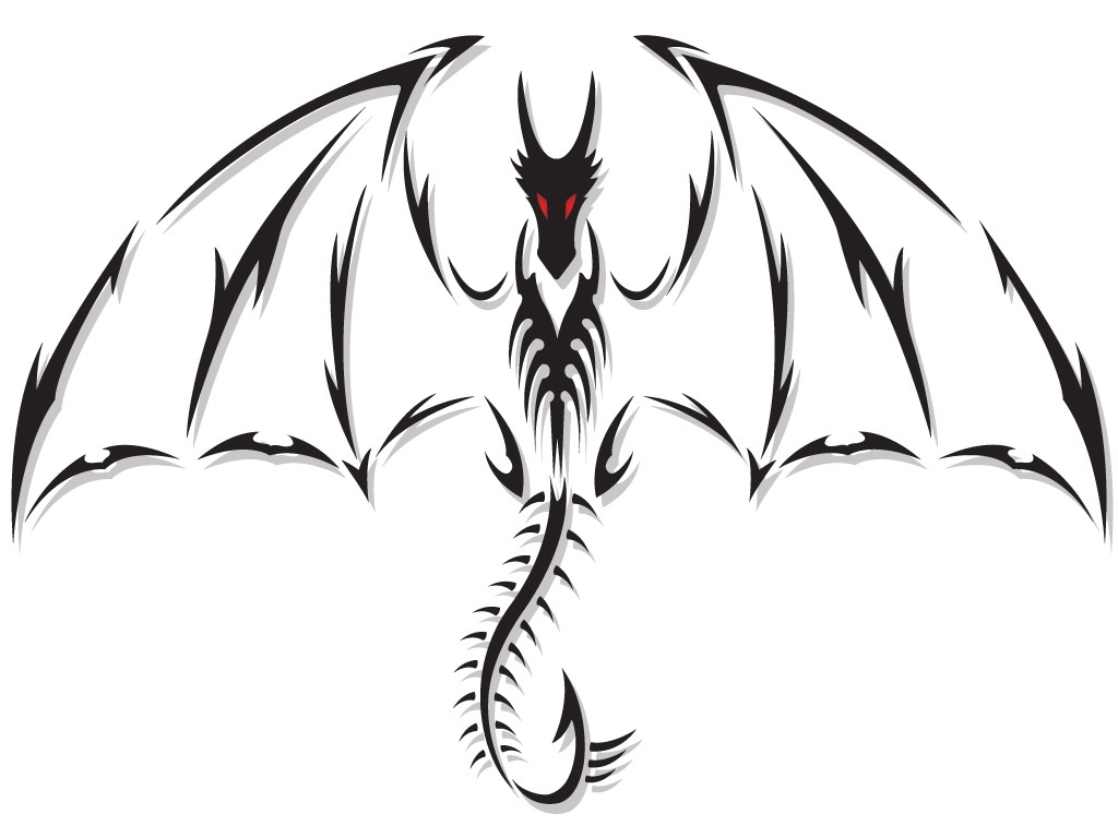 Red Eyes Outline Dragon Tattoo Design