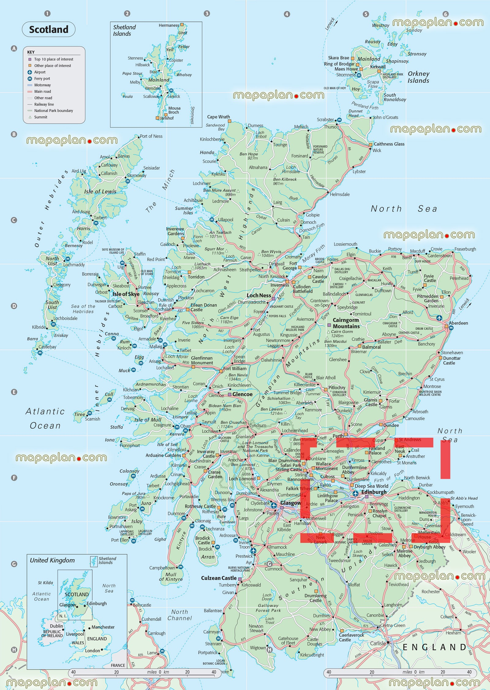 Road Map Of England And Scotland And Travel Information