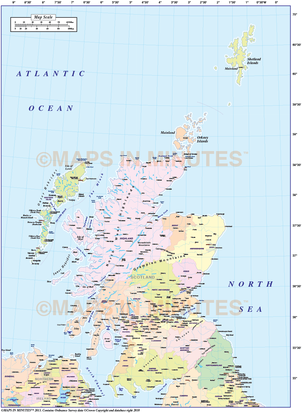 Vector Scotland Regions Map Including The Northern Isles