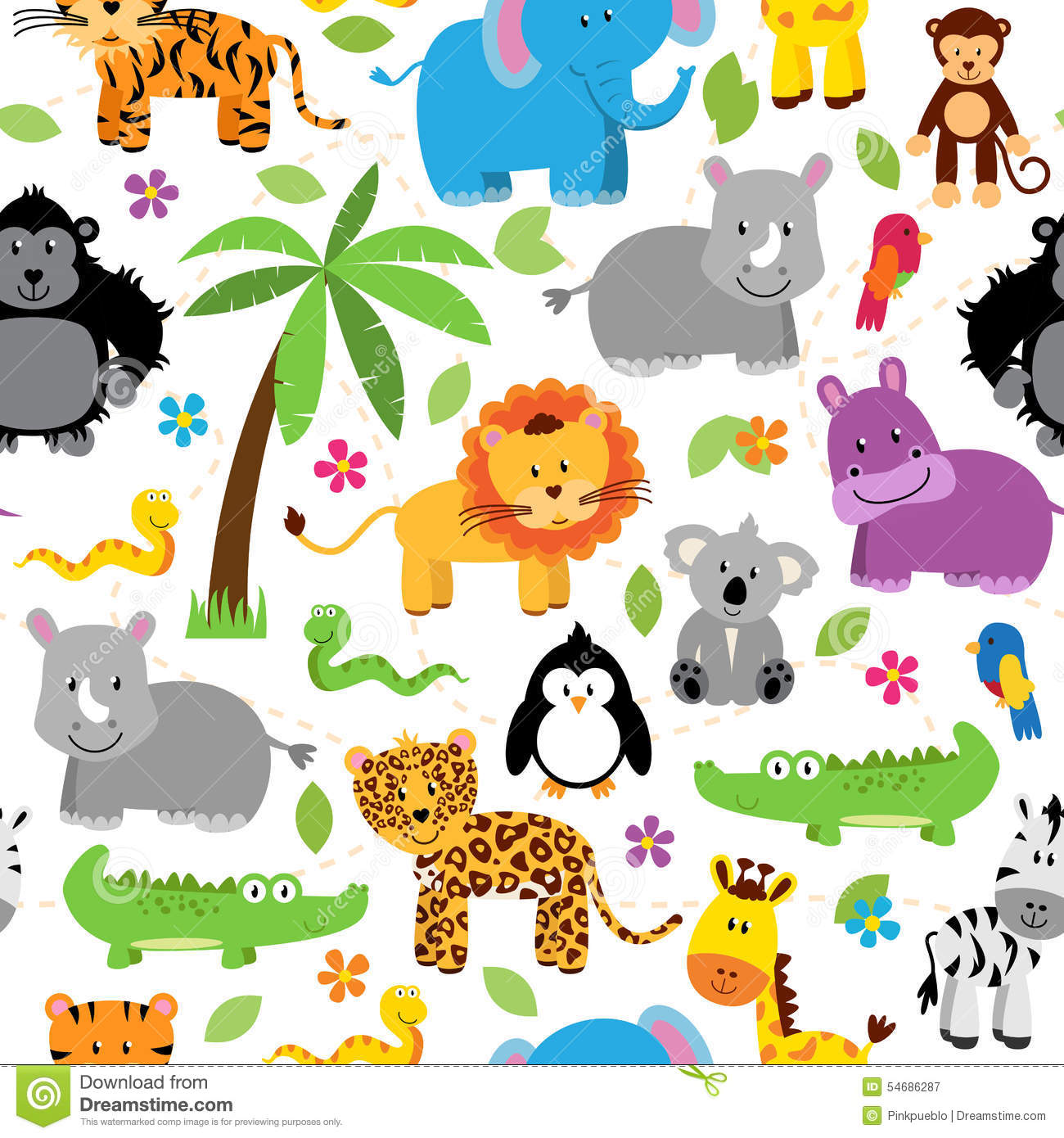 Seamless, Tileable Jungle Animal Themed Background Patterns Stock