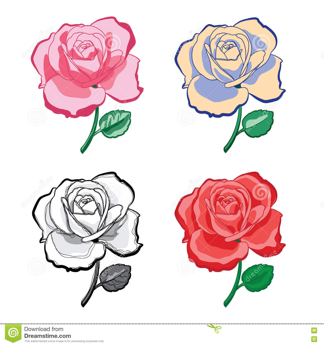 Set Of Artistic Hand Drawing Roses Stock Vector