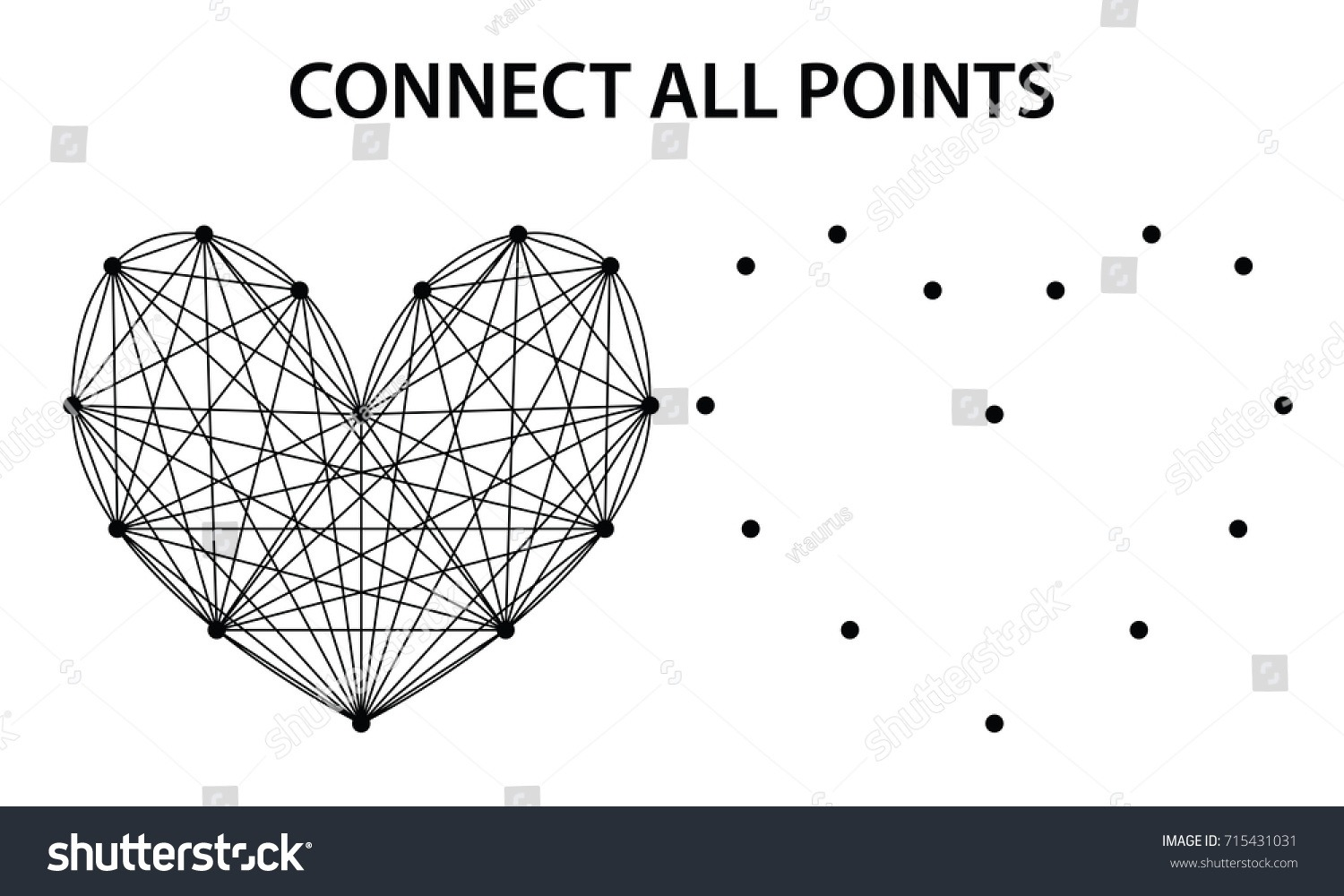 Abstract Heart Shape Connecting Dots Lines Stock Vector (royalty