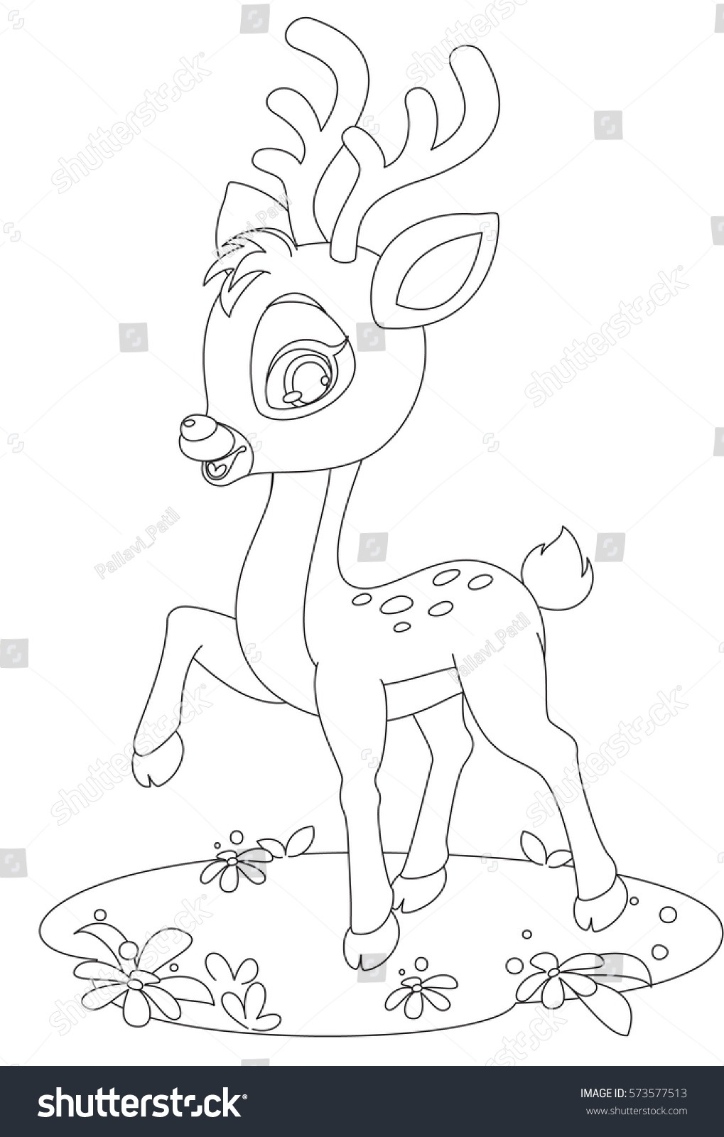 Cute Baby Deer Pose Drawing Color Stock Vector (royalty Free