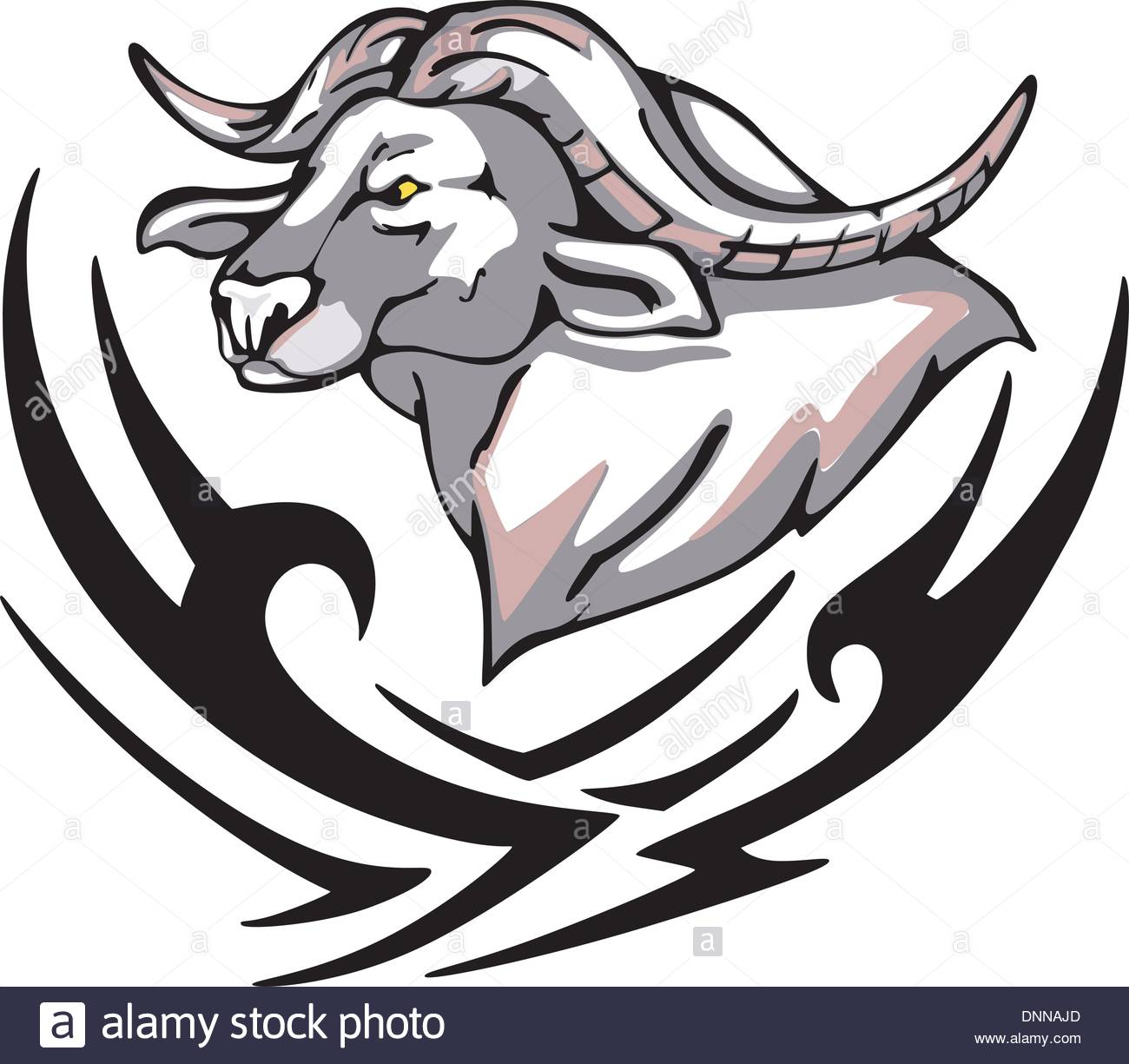Tattoo With Buffalo Head  Color Vector Illustration Stock Vector
