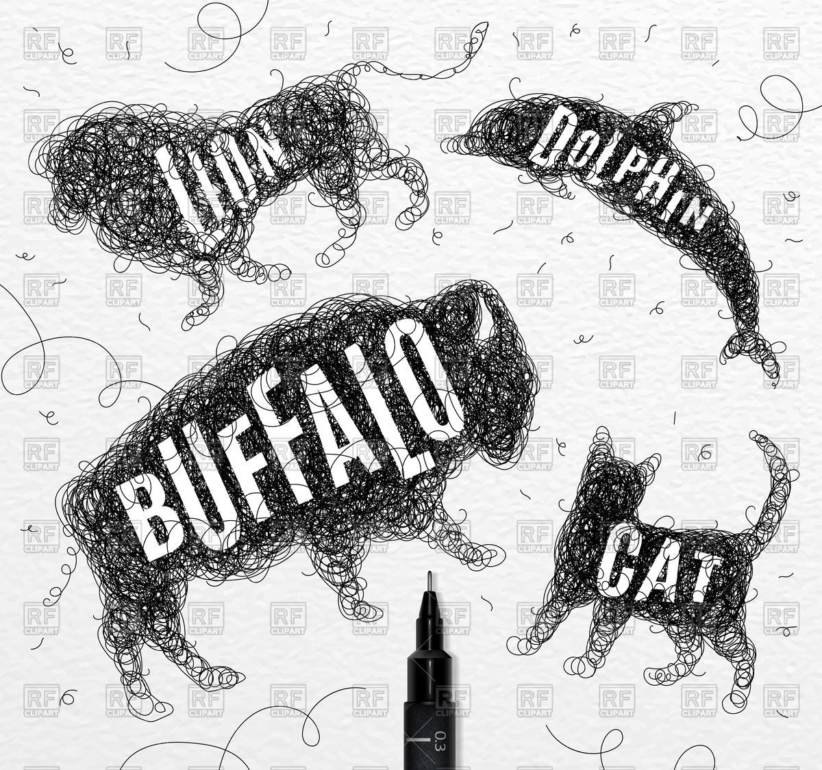 Wild Animals Set In Black Color  Buffalo, Cat, Dolphin And Lion
