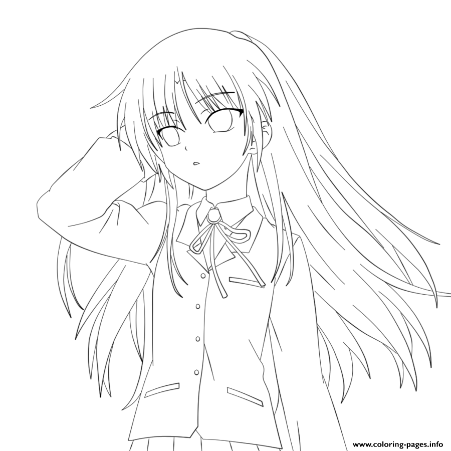 Anime Angel Girl Coloring Pages Printable