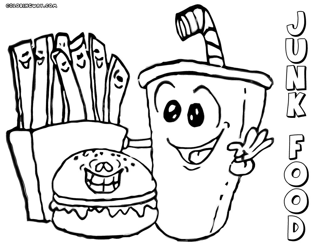 Cute Food Coloring Pages Unhealthy Fast Cartoon Pictures Nazly Me