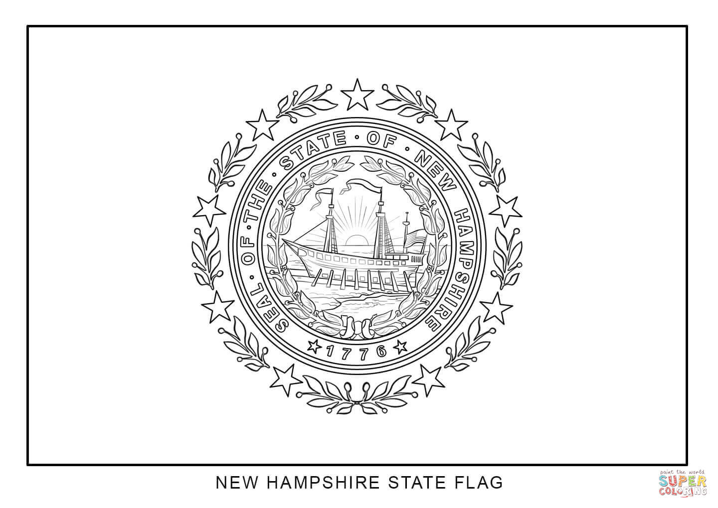 New York Flag Coloring Page
