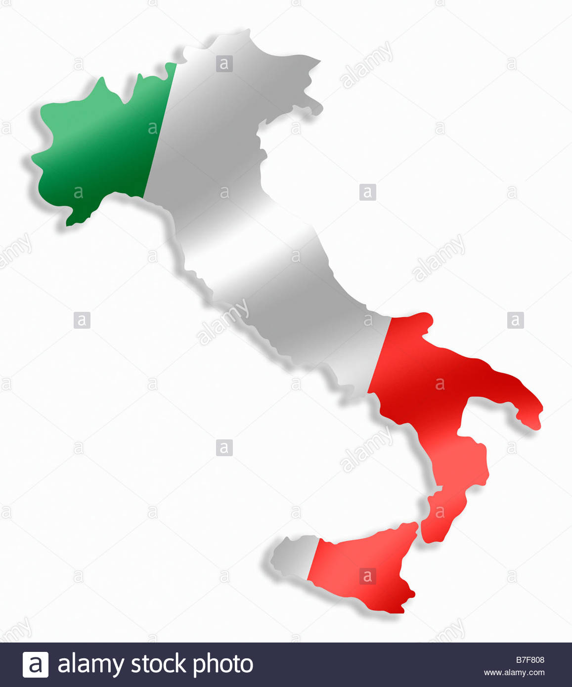 Italy Italian Country Map Outline With National Flag Inside Stock