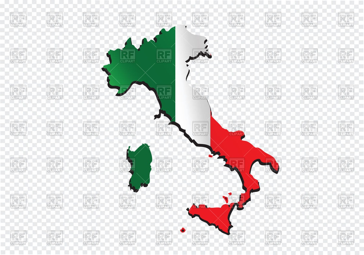 Italy Map Outline And Flag Vector Image Of Signs, Symbols, Maps