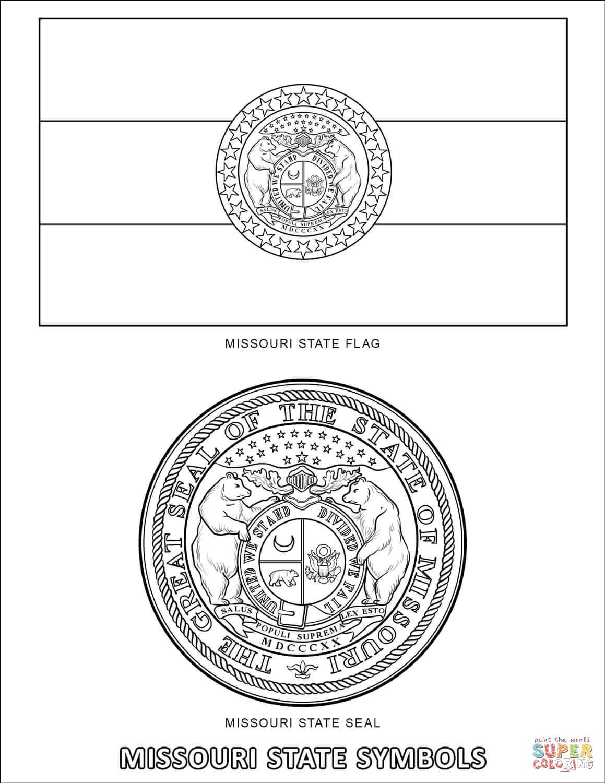 Missouri State Symbols Coloring Page