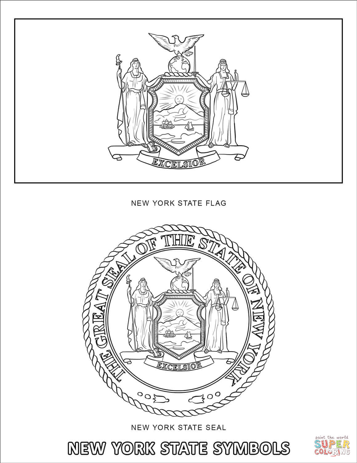 New York State Symbols Coloring Page