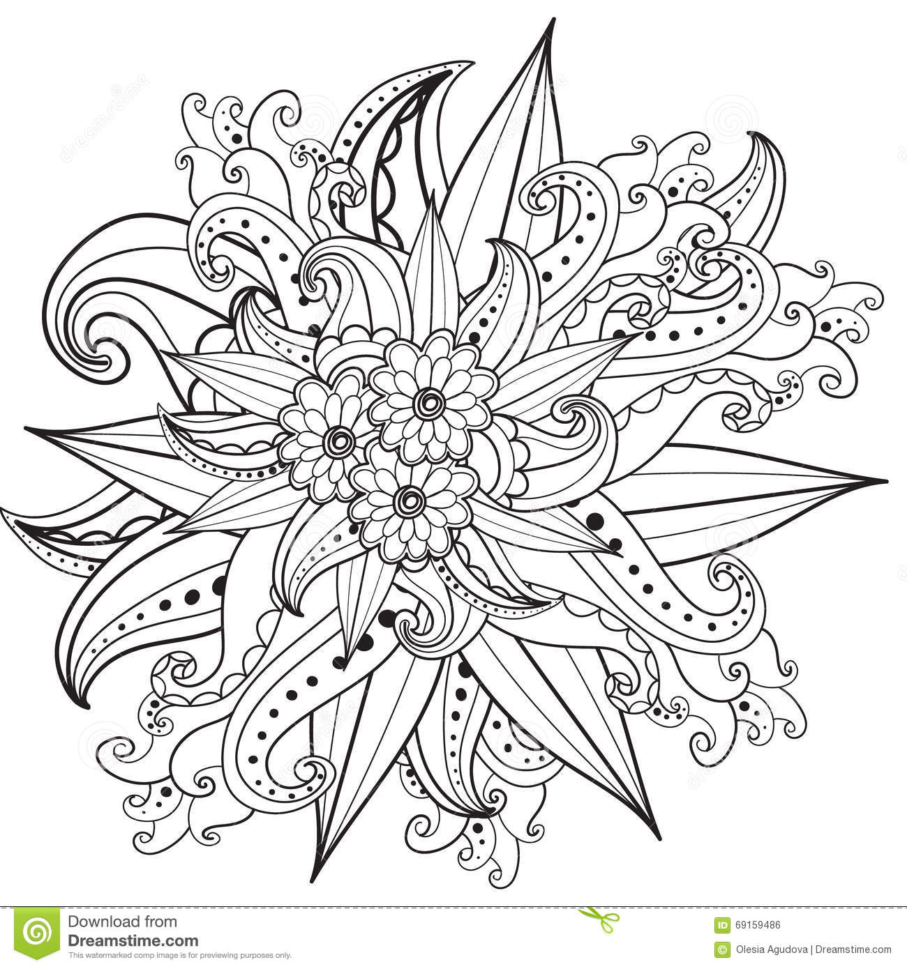 Pages For Adult Coloring Book  Hand Drawn Ornamental Patterned