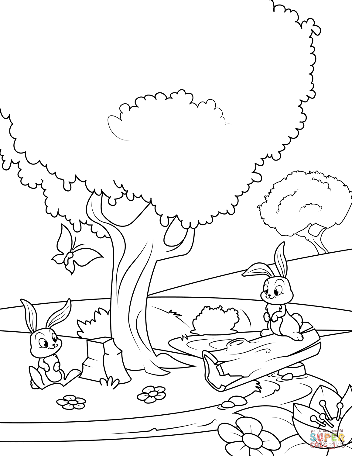 Rabbits In The Spring Forest Coloring Page