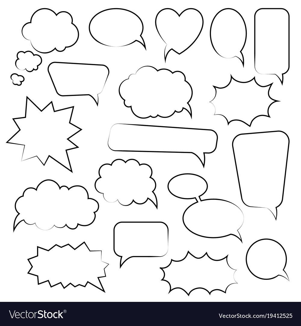 Set Of Cartoon Doodle Speech Bubbles Template For Vector Image