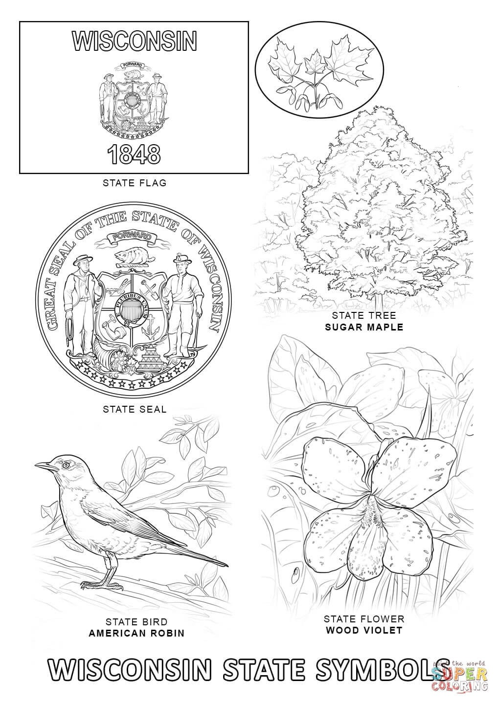 Wisconsin State Symbols Coloring Page Free Printable Pages Cool