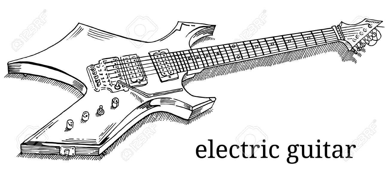 Close Up Of Lying Electric Guitar  Line Art, Outline, Coloring
