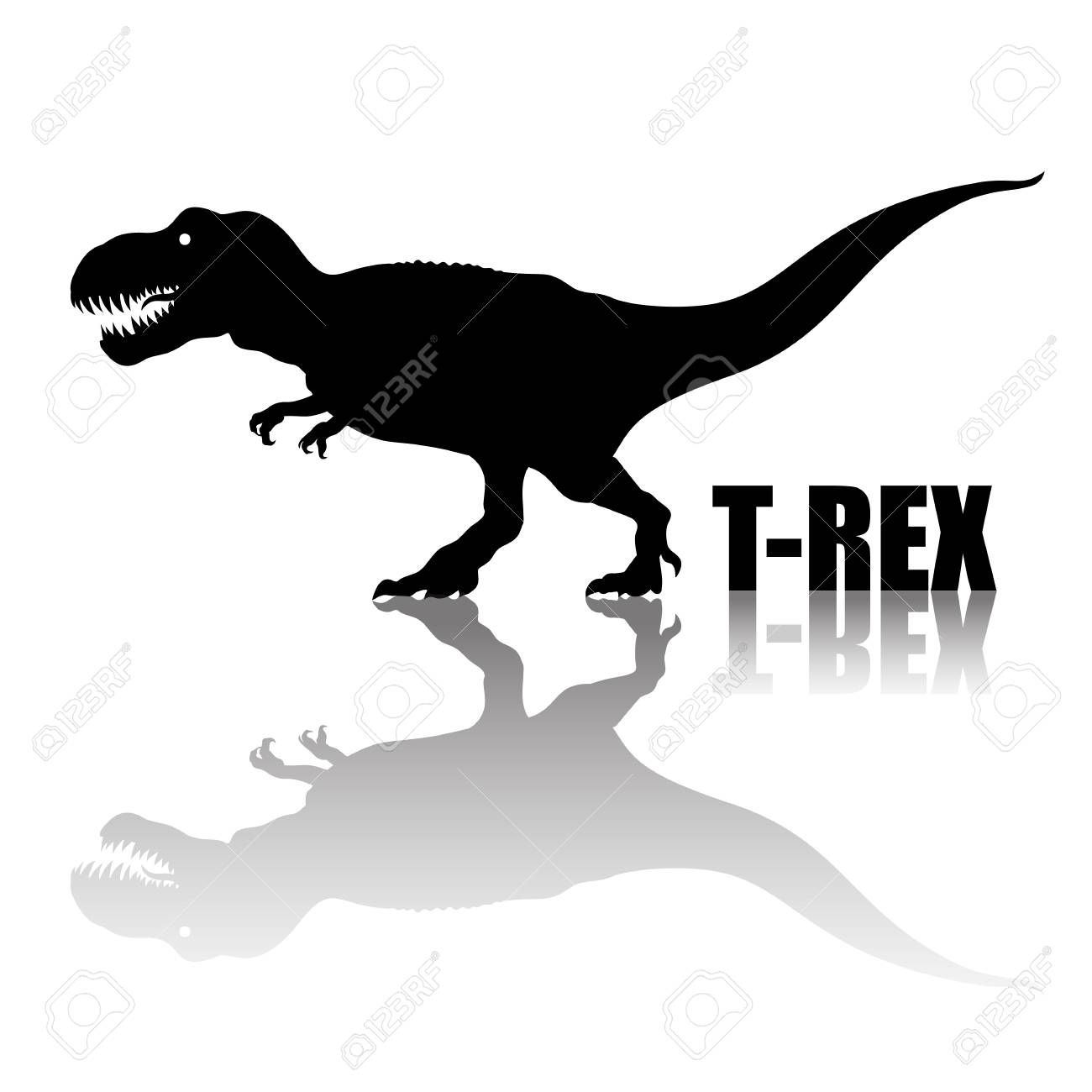 Tyrannosaurus Rex  Silhouette With Transparent Reflection