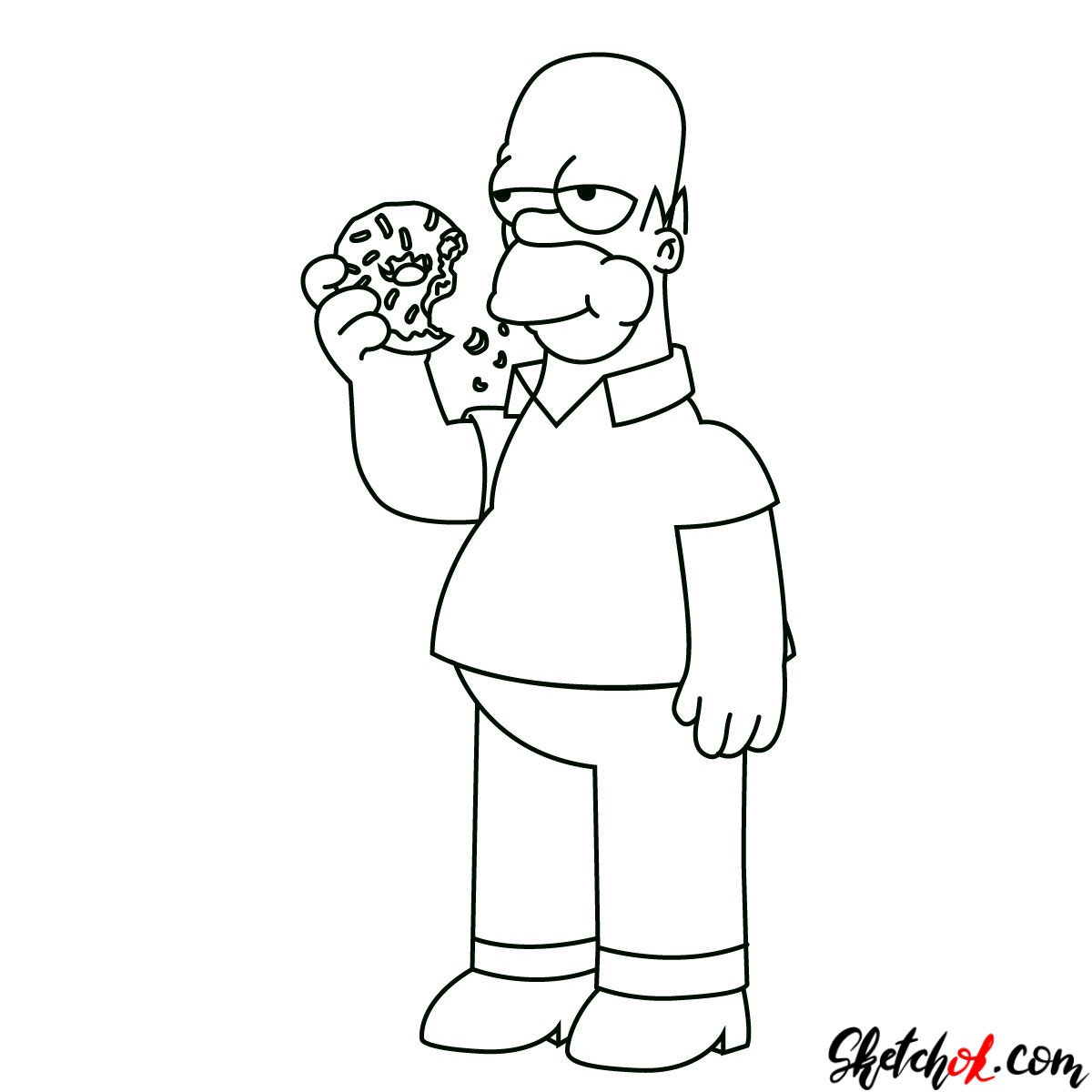 How To Draw Homer Simpson Eating A Donut