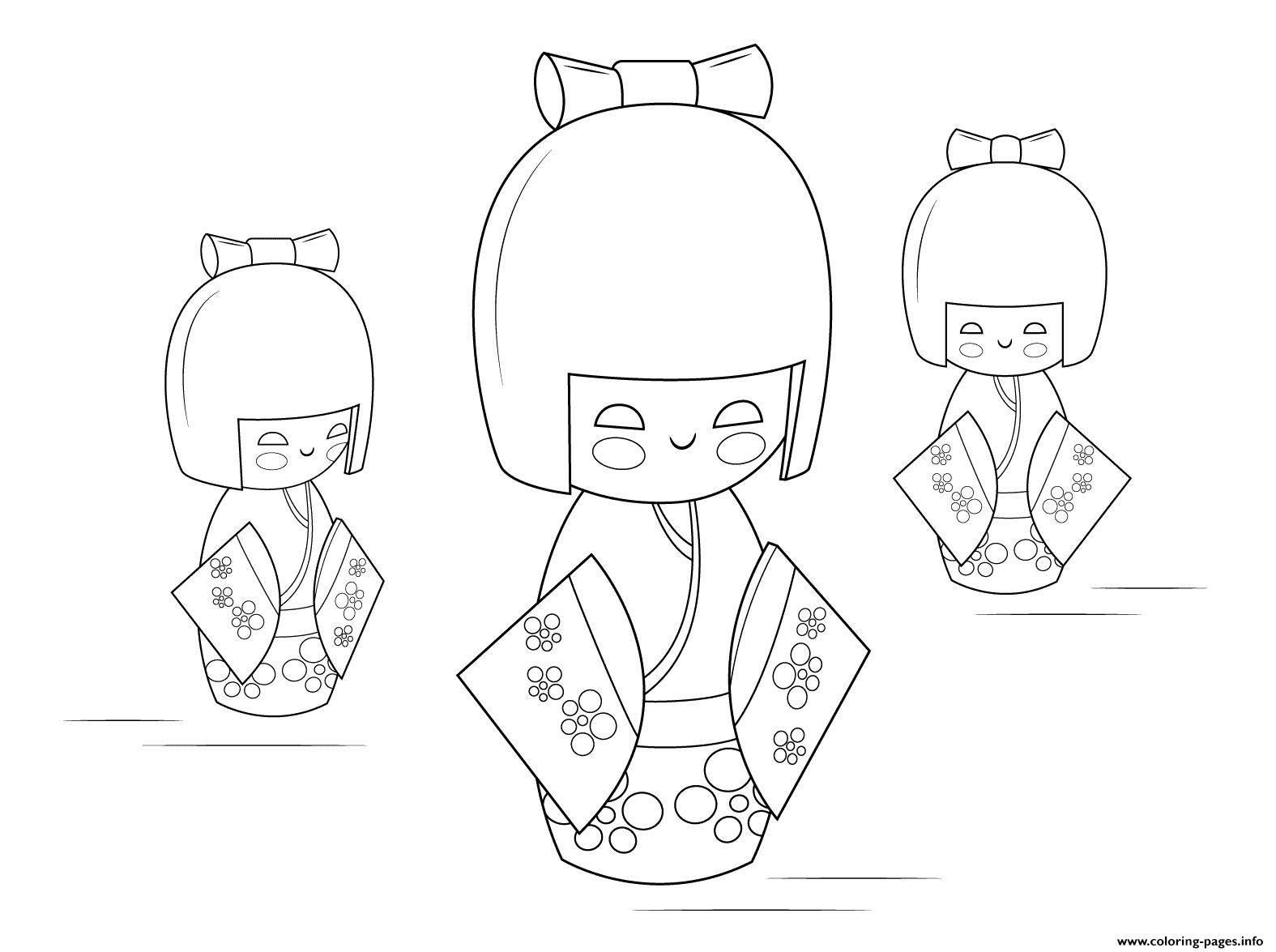 Kokeshi Dolls Coloring Pages Printable
