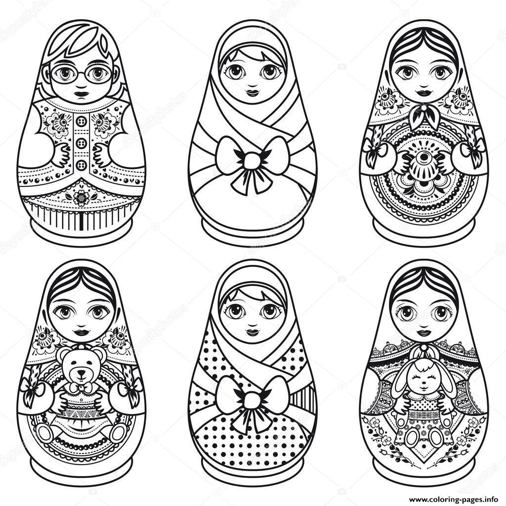 Matryoshka Russian Folk Nesting Doll Coloring Pages Printable