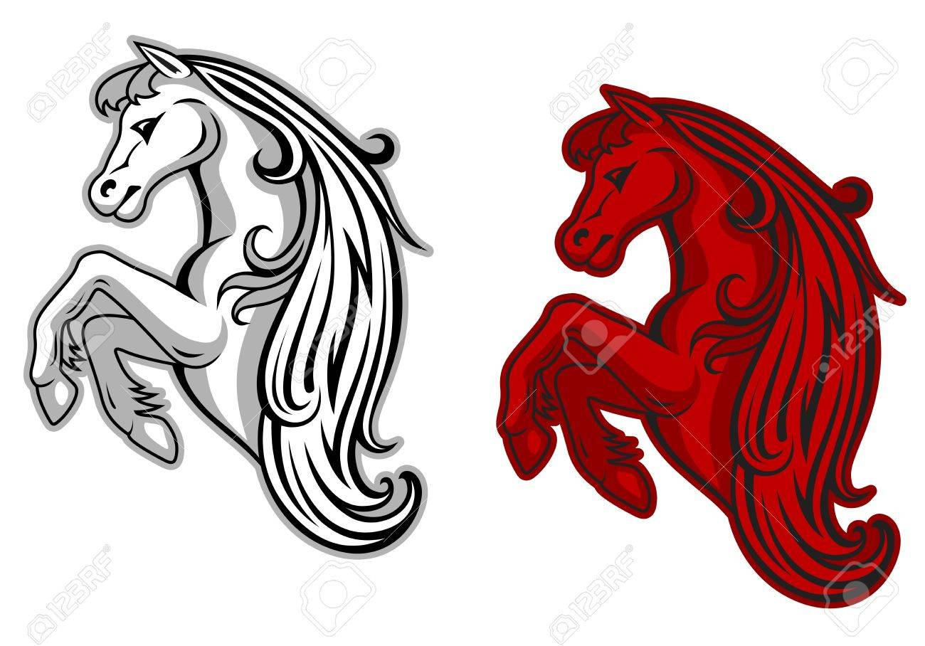 Wild Horse In White And Red Color For Mascot Design Royalty Free