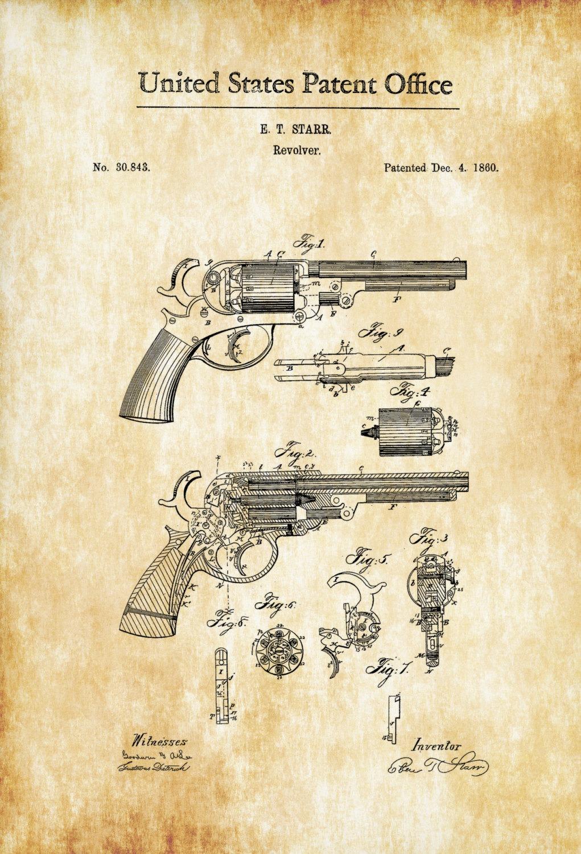 1860 Starr Revolver Patent – Patent Print, Wall Decor, Gun Art