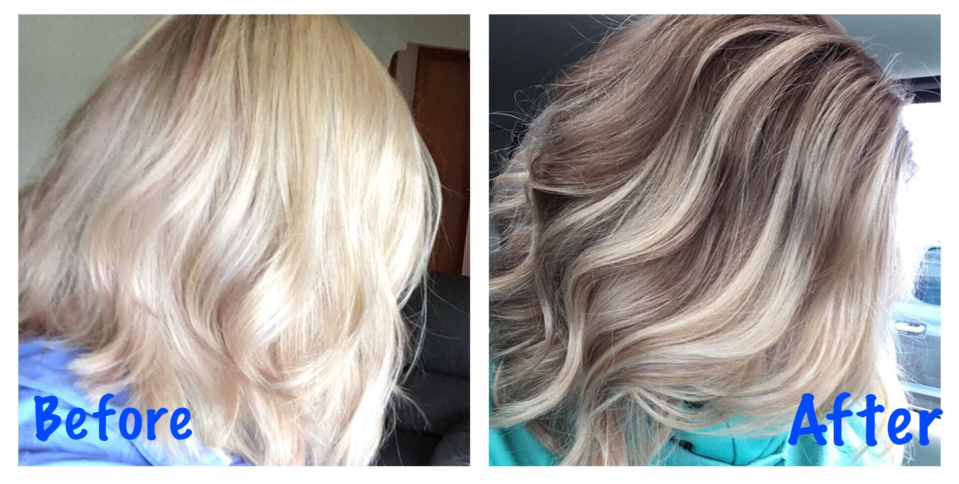 Before And After Color Correction For Over Highlighted Hair