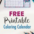 Free Printable Coloring Calendar 2017