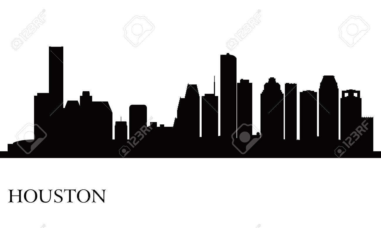 Houston City Skyline Silhouette Background Royalty Free Cliparts