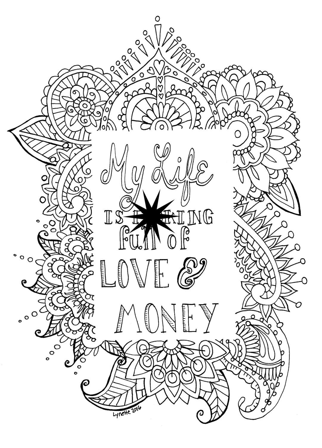Adult Swear Word Coloring Page, Mature Content, Instant Download