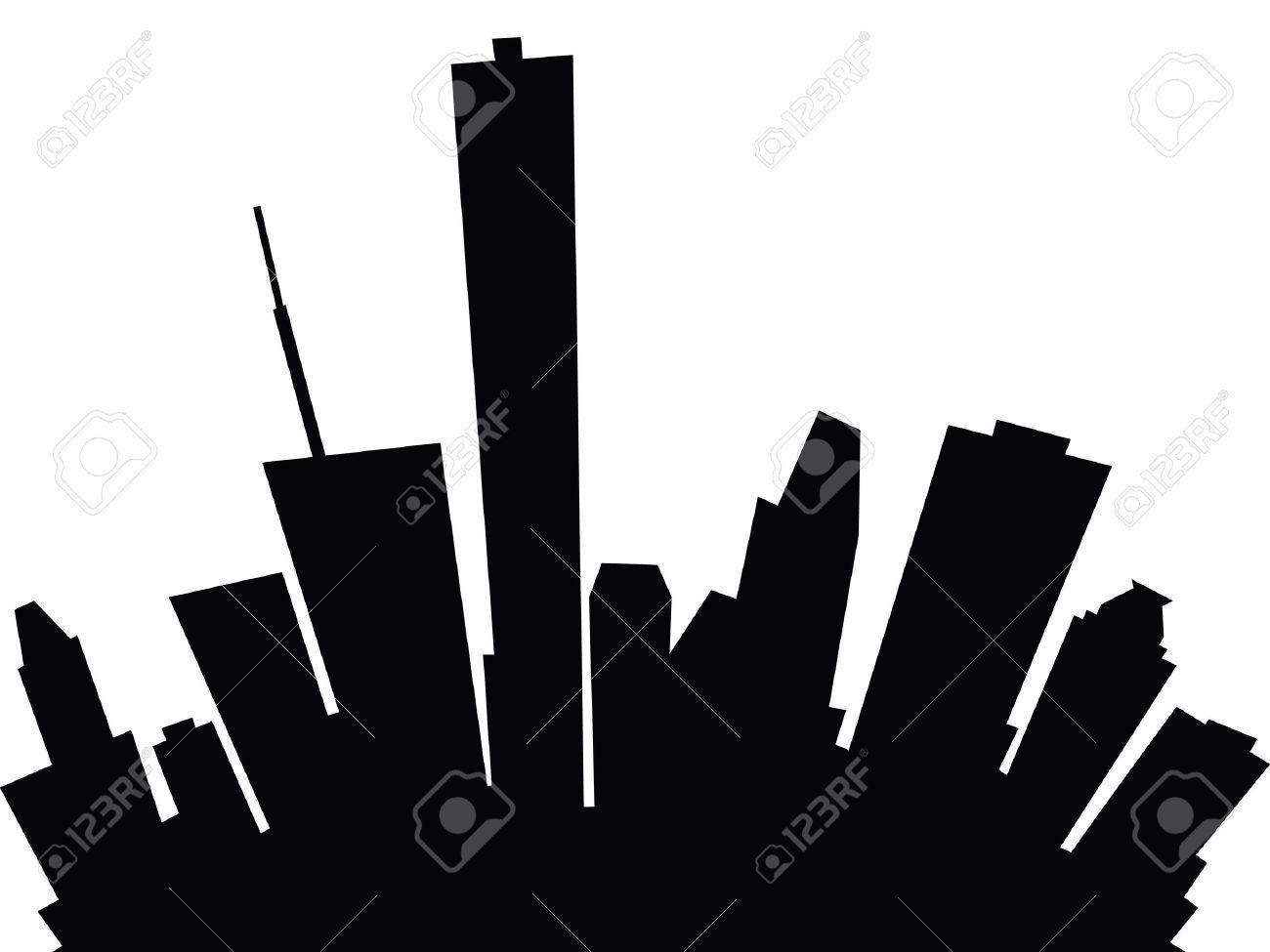 Cartoon Skyline Silhouette Of The City Of Houston, Texas, Usa