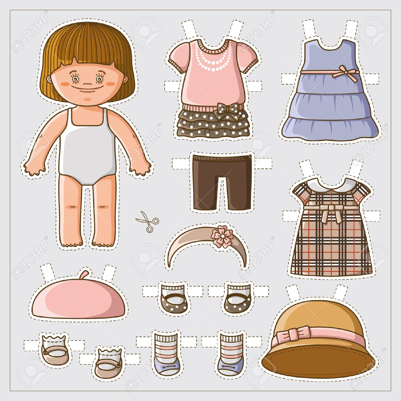 Dress Up Cute Paper Doll With Body Template Royalty Free Cliparts
