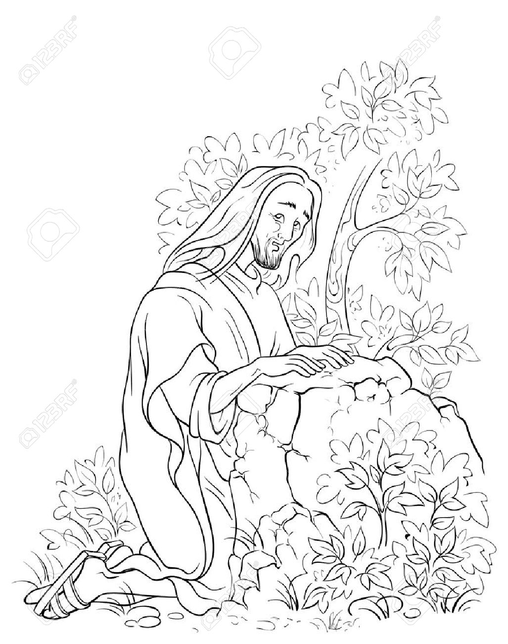 Coloring Pages Of Jesus Praying In The Garden - NEO Coloring