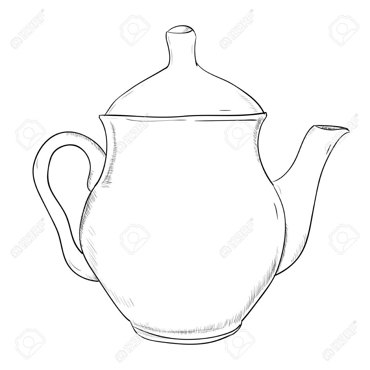 Vector Sketch Of Teapot  Hand Draw Illustration  Royalty Free