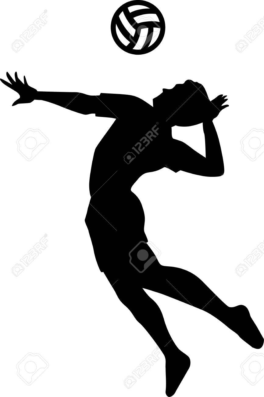 Volleyball Player Silhouette Royalty Free Cliparts, Vectors, And