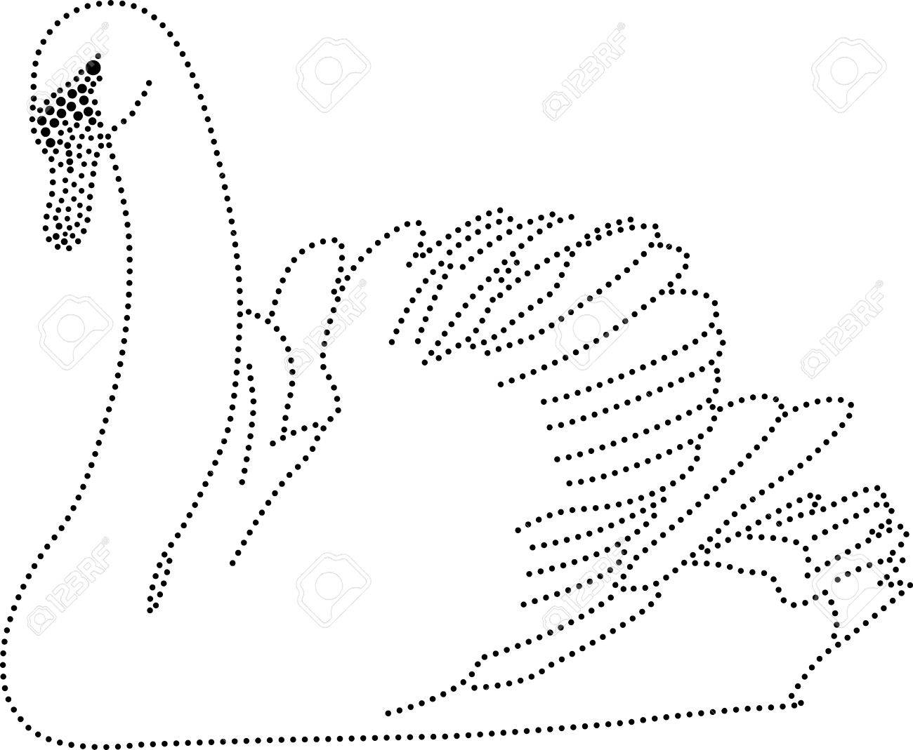 Rhinestones  Outline Dots Of A Swan Royalty Free Cliparts, Vectors