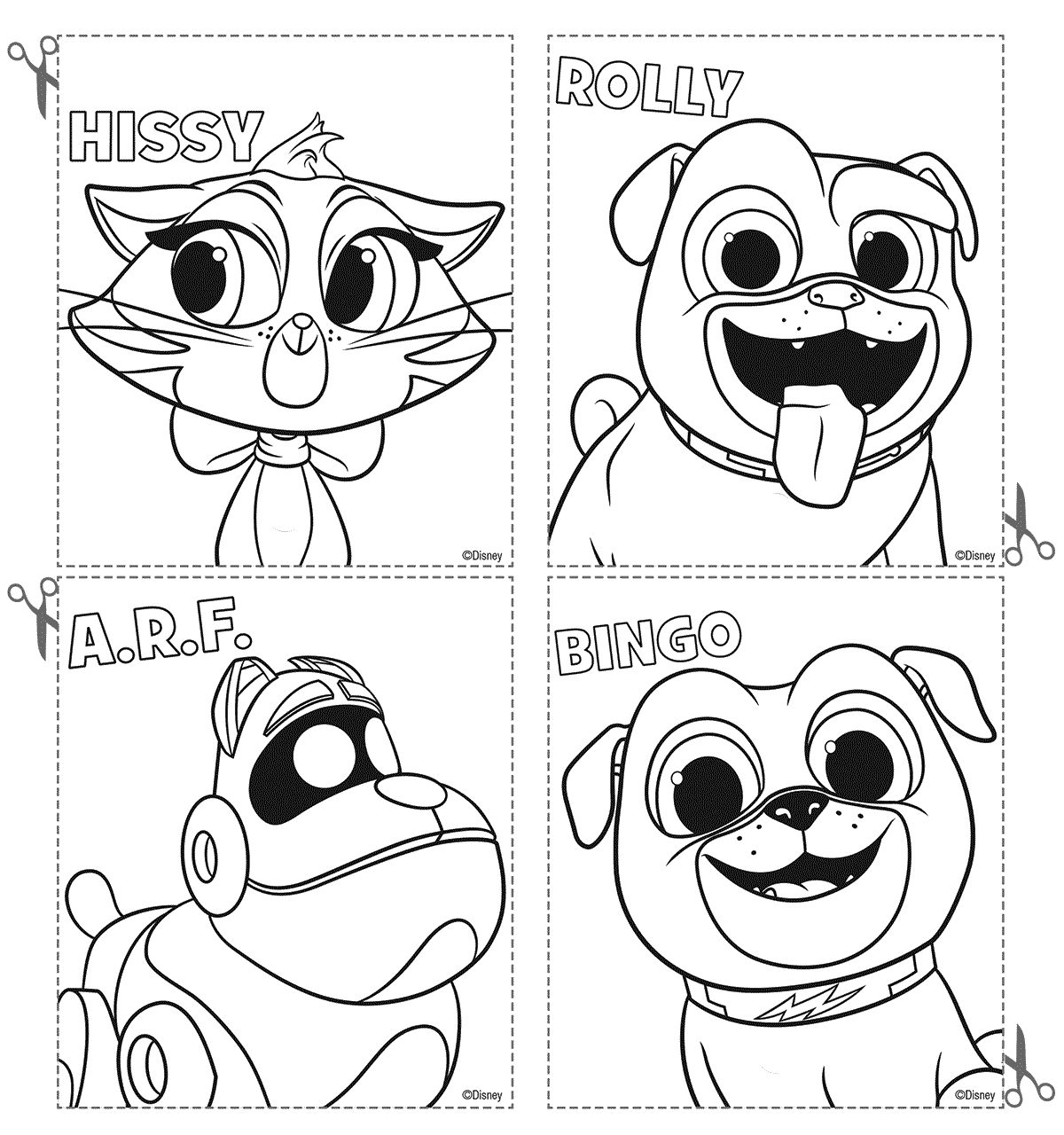 Disney Puppy Dog Pals Coloring Pages Cards