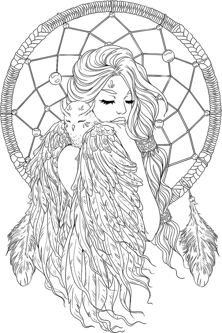 Lineartsy Free Adult Coloring Page Dreamcatcher Lined