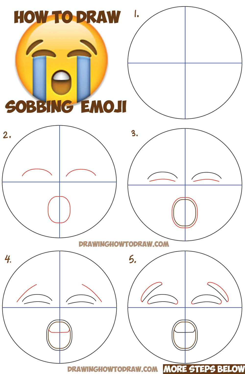 How To Draw Sobbing Crying Emoji Face With Easy Steps Lesson