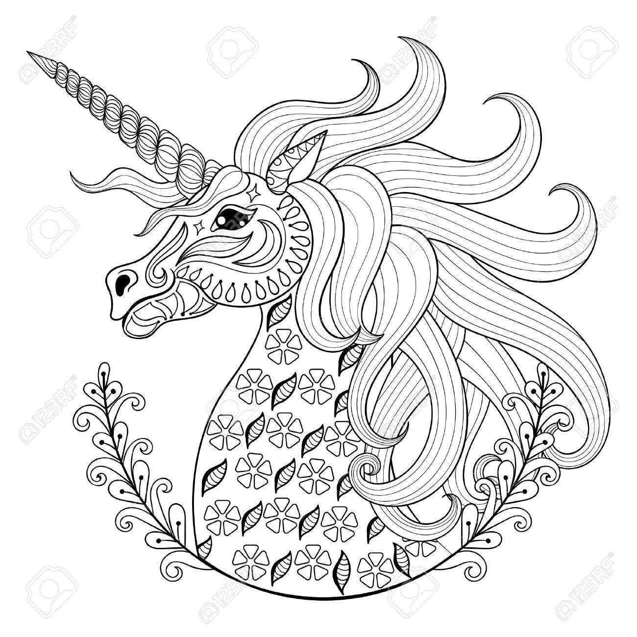 Gráfico De La Mano Del Unicornio Para Colorear Páginas Para