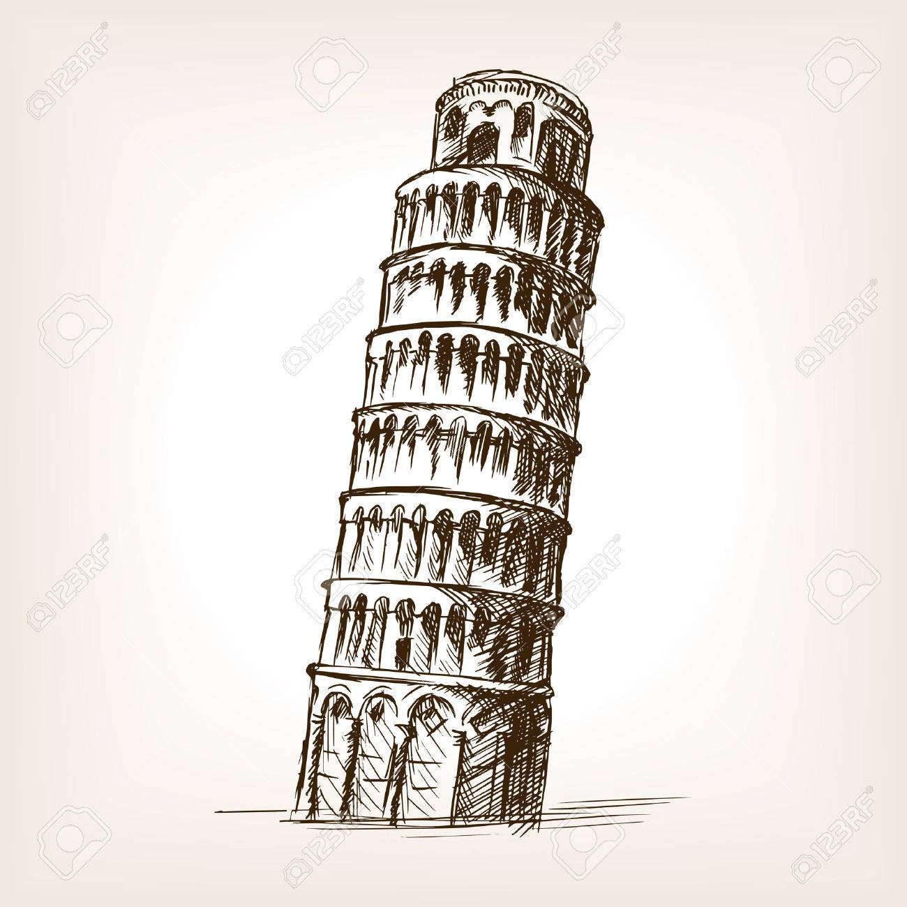 Leaning Tower Of Pisa Sketch Style Vector Illustration  Old