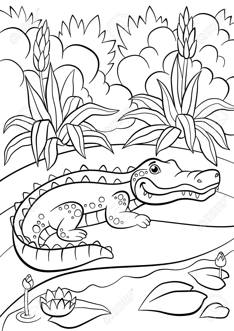 Coloring Pages  Animals  Little Cute Alligator Sits Near The