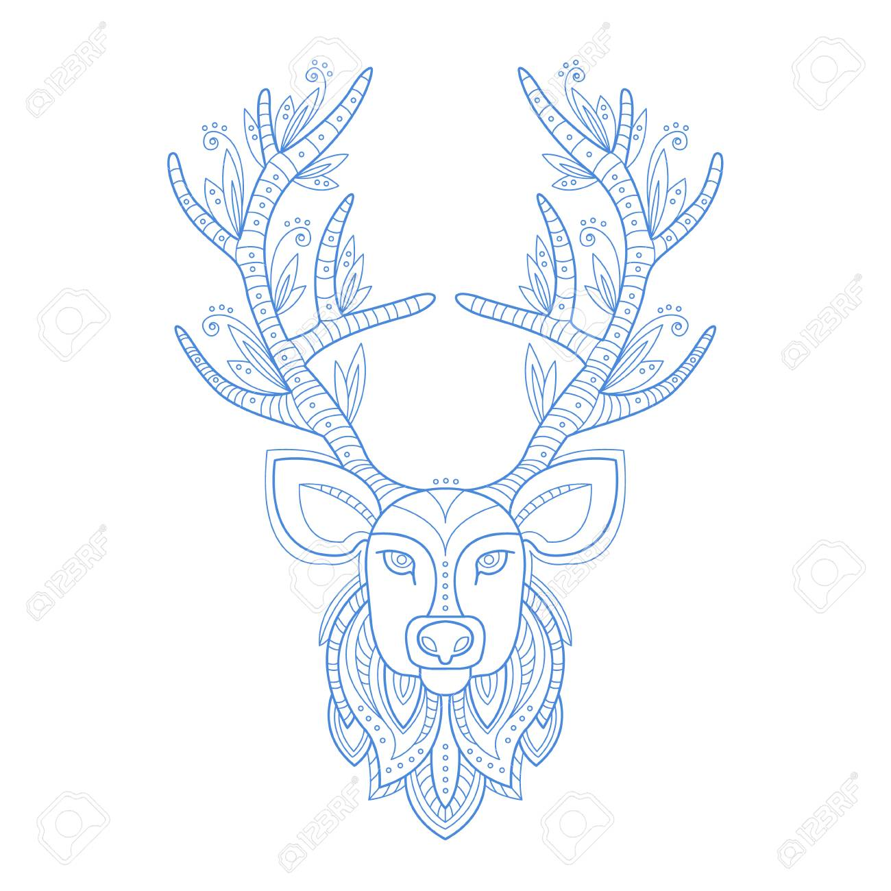 Deer Head Stylised Doodle Zen Coloring Book Page Hand Drawn Vector