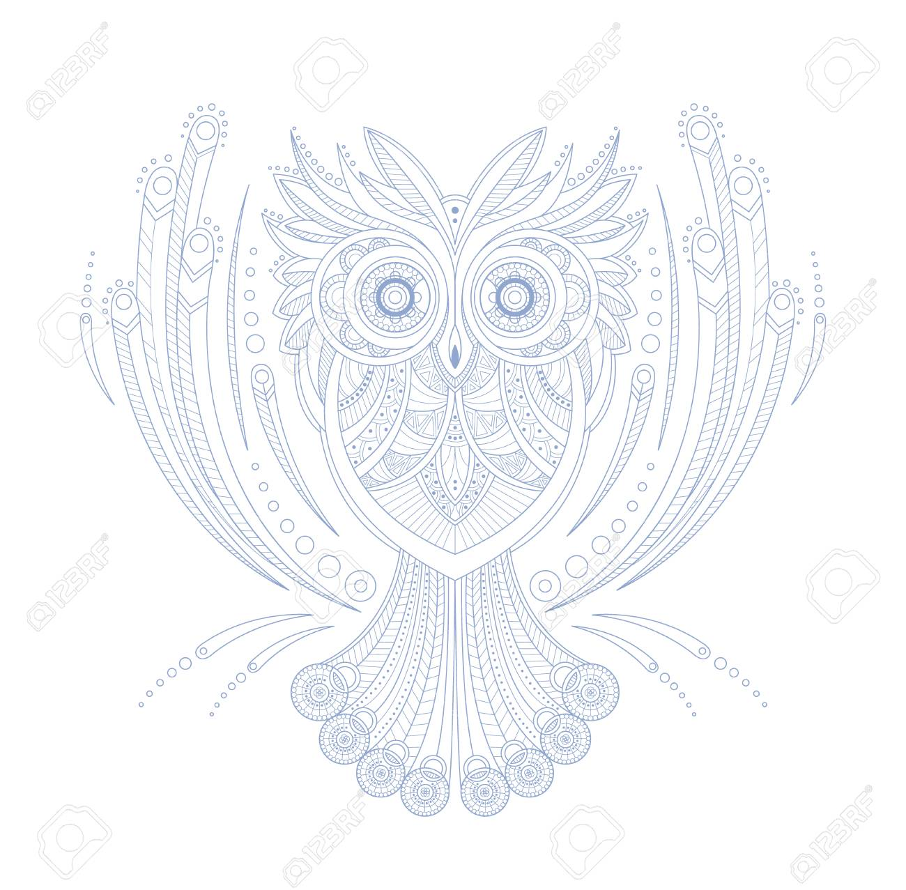 Owl Stylised Doodle Zen Coloring Book Page Hand Drawn Vector