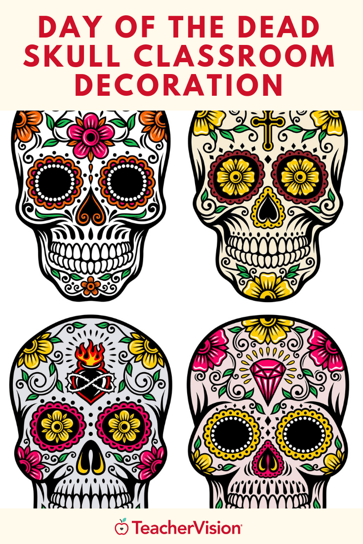 Printable Skull Decoration For Dia De Los Muertos