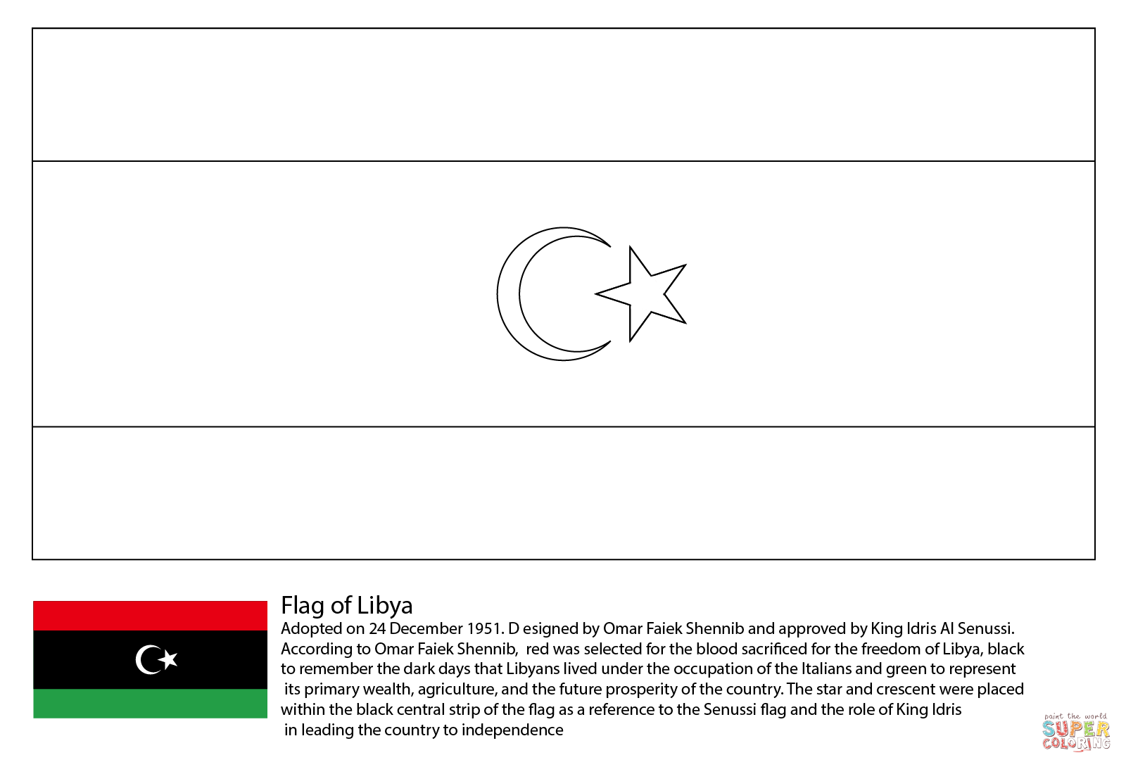 Tunisia Flag Coloring Page For Kids